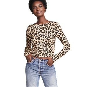 Alice + Olivia Delaina Leopard Print Cropped Top